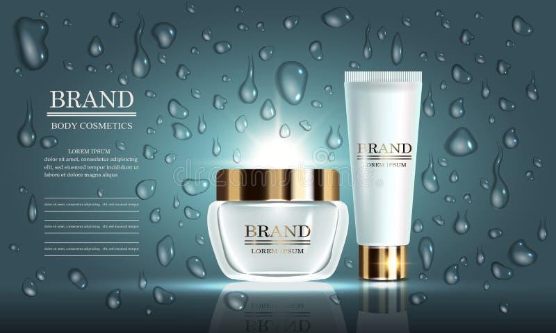 Série de beauté de cosmétiques, ensemble de vecteur de crème de la meilleure qualité pour des soins de la peau, baisses Calibre p illustration libre de droits