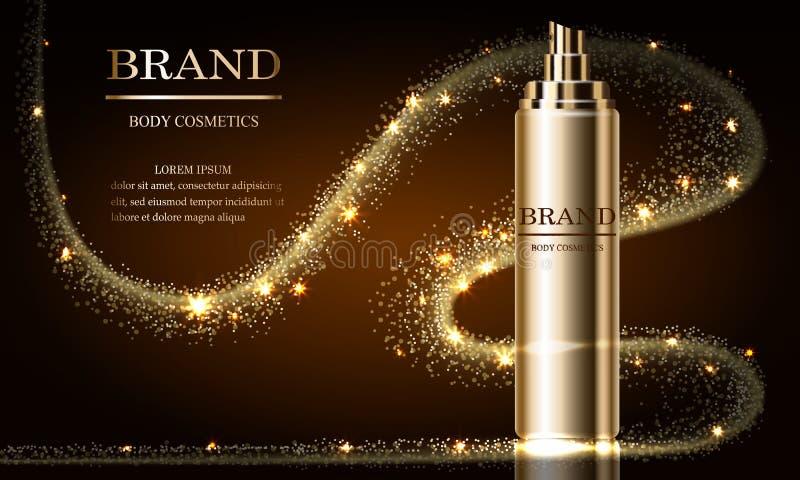 Série de beauté de cosmétiques, annonces de maquette de crème de la meilleure qualité de jet pour des soins de la peau Calibre po