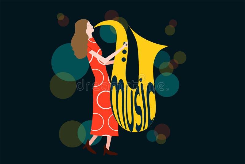 A série de composição do concerto da música com a mulher que joga o saxofone na noite ilumina-se ilustração royalty free