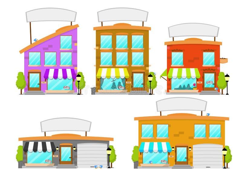 Série de construction de boutique de dessin animé illustration libre de droits