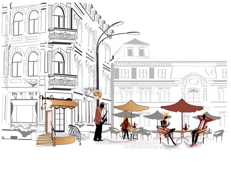 Série de croquis des rues avec le café illustration stock