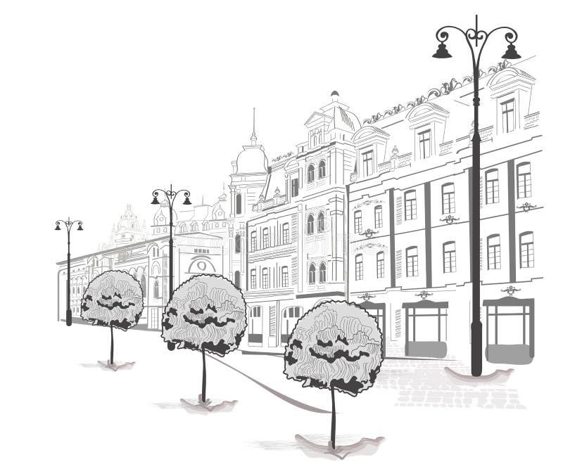 Série de croquis des rues dans la vieille ville illustration stock