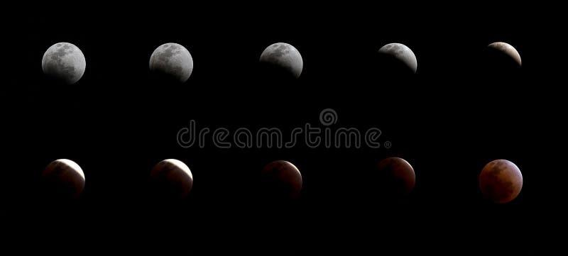 série de eclipse lunar total fotografia de stock