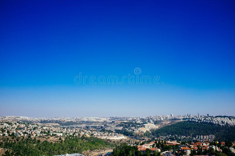 Série de Holyland - Parc-vue nationale de Kastel vers Jérusalem photos stock