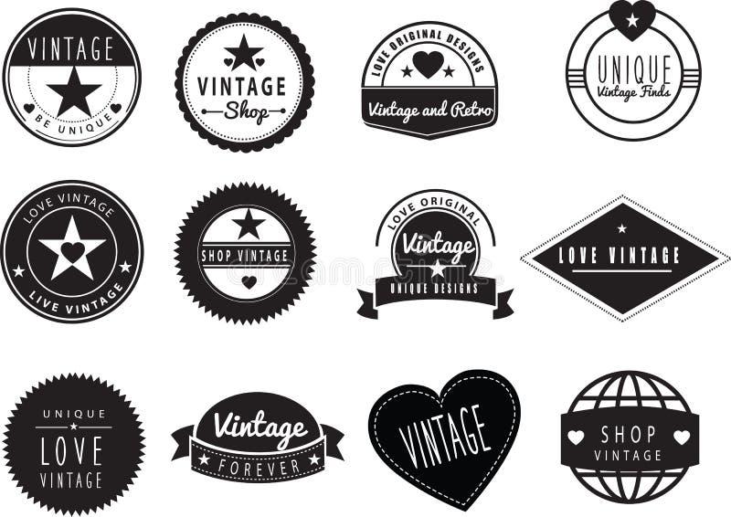 Série de logotipos retros do vintage ilustração stock