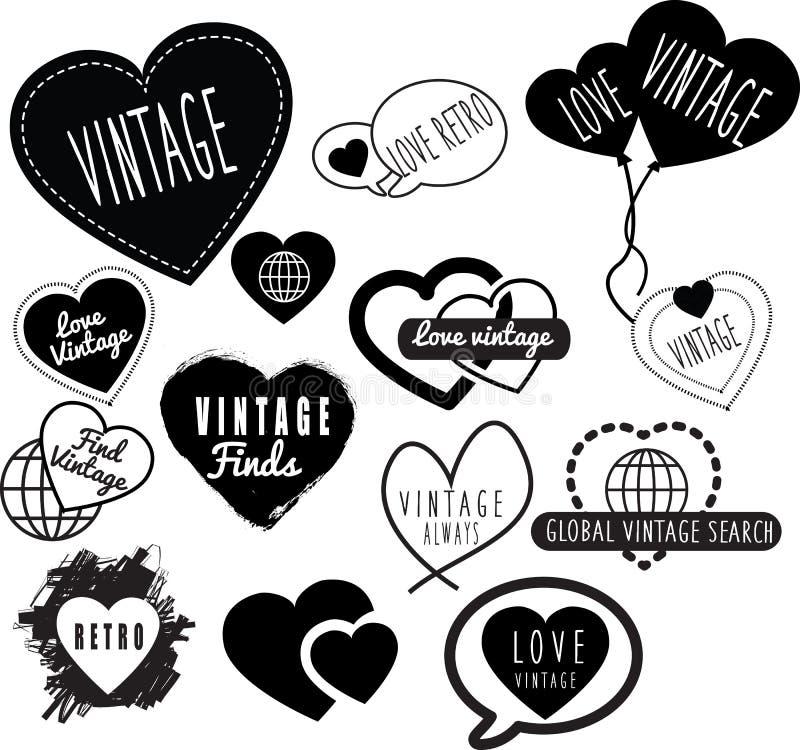Série de logotipos retros do vintage baseados no tema dos povos do coração do amor ilustração royalty free