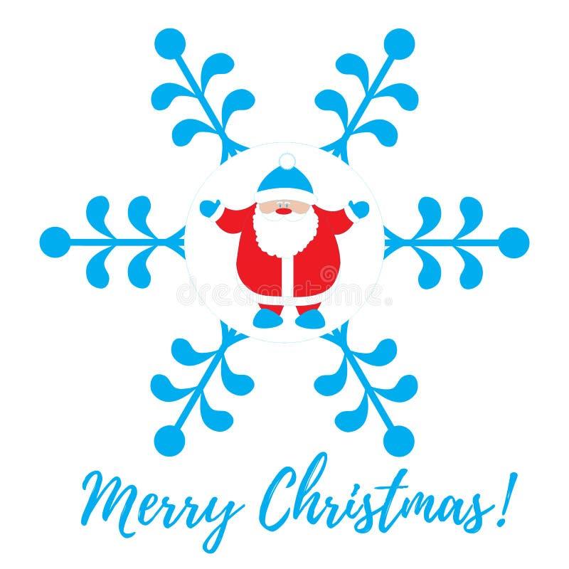 Série de Noël : photo gentille avec Santa Claus dans un flocon de neige illustration de vecteur