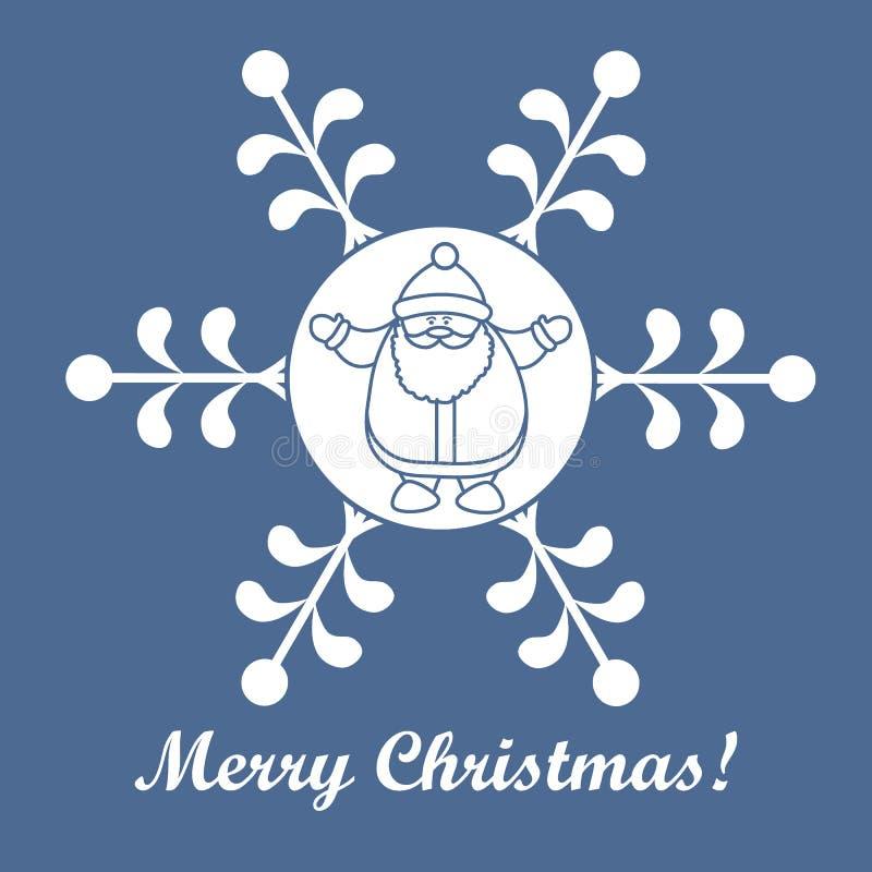 Série de Noël : photo gentille avec Santa Claus dans un flocon de neige i illustration stock