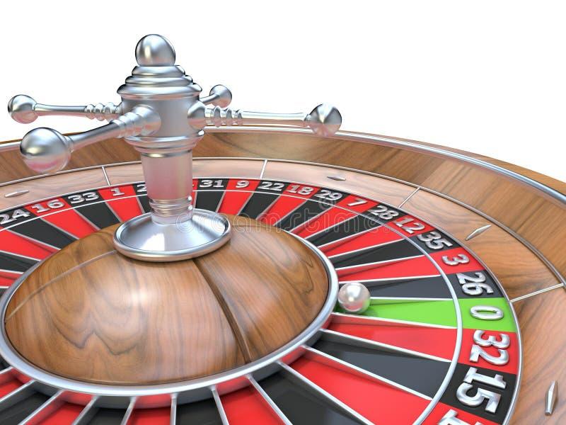 série de roulette de tisonnier de puces de casino Détail sur la poche verte zéro illustration de vecteur