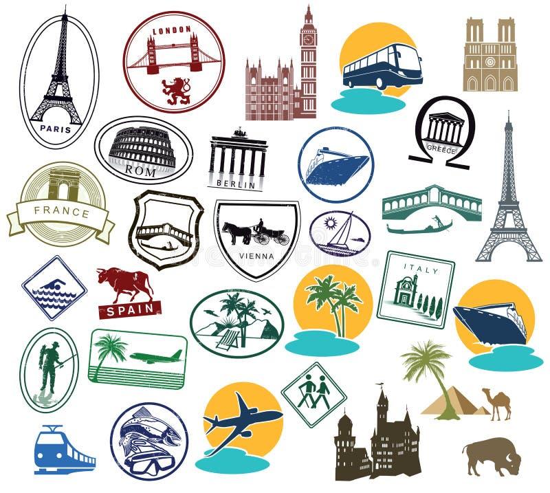 Série de selos ou de etiquetas do europeu ilustração stock