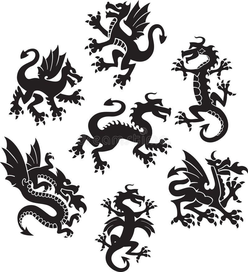 Symboles de dragon illustration libre de droits