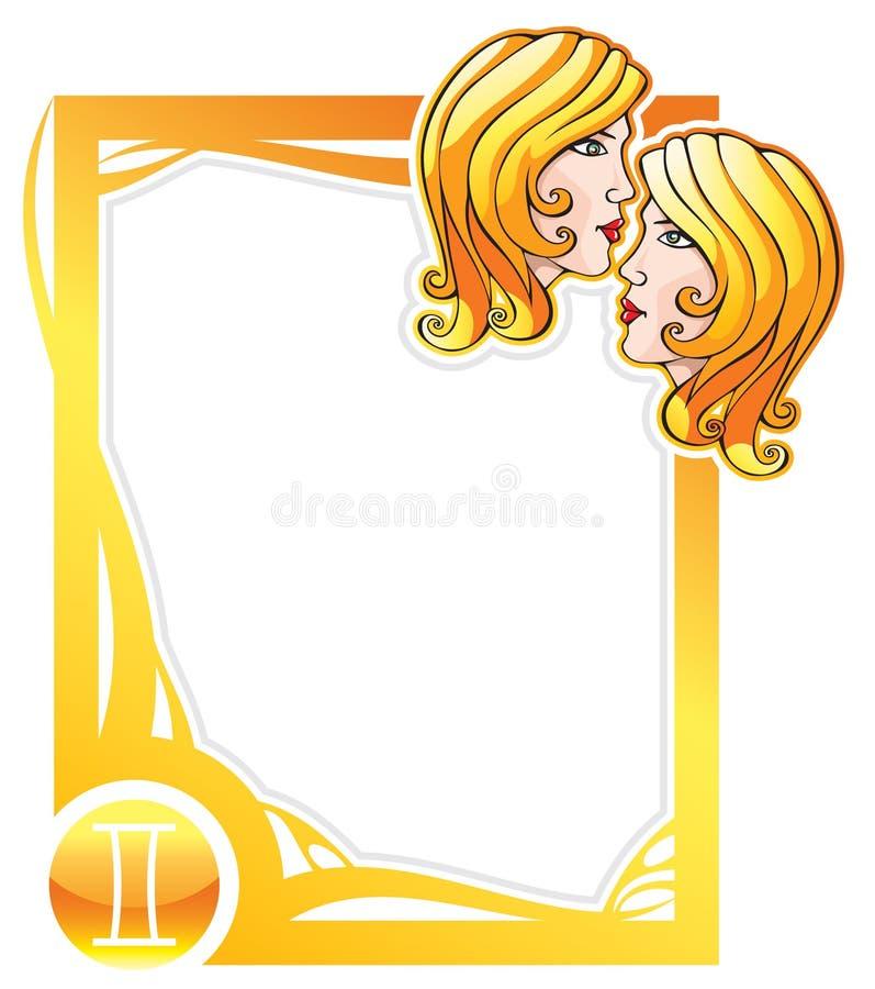 Série de trame de zodiaque : Gémeaux illustration stock