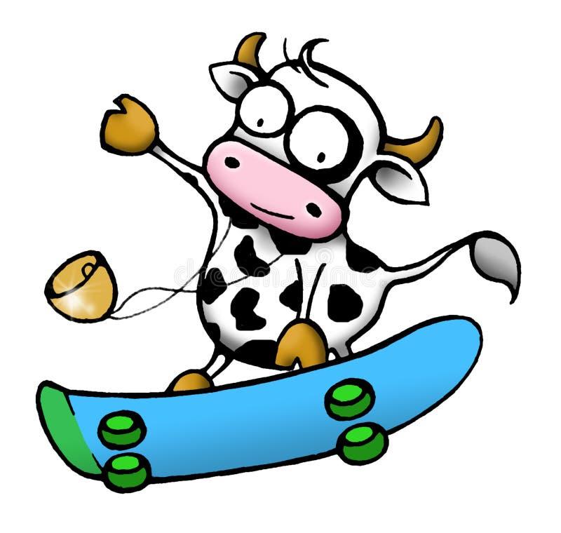 Série de vache - planche à roulettes illustration stock