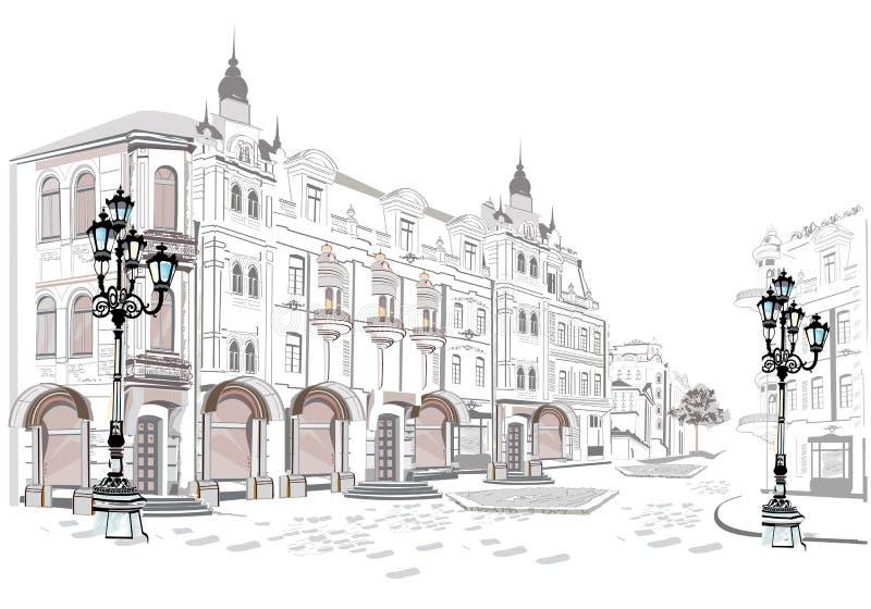 Série de vues de rue dans la vieille ville illustration de vecteur