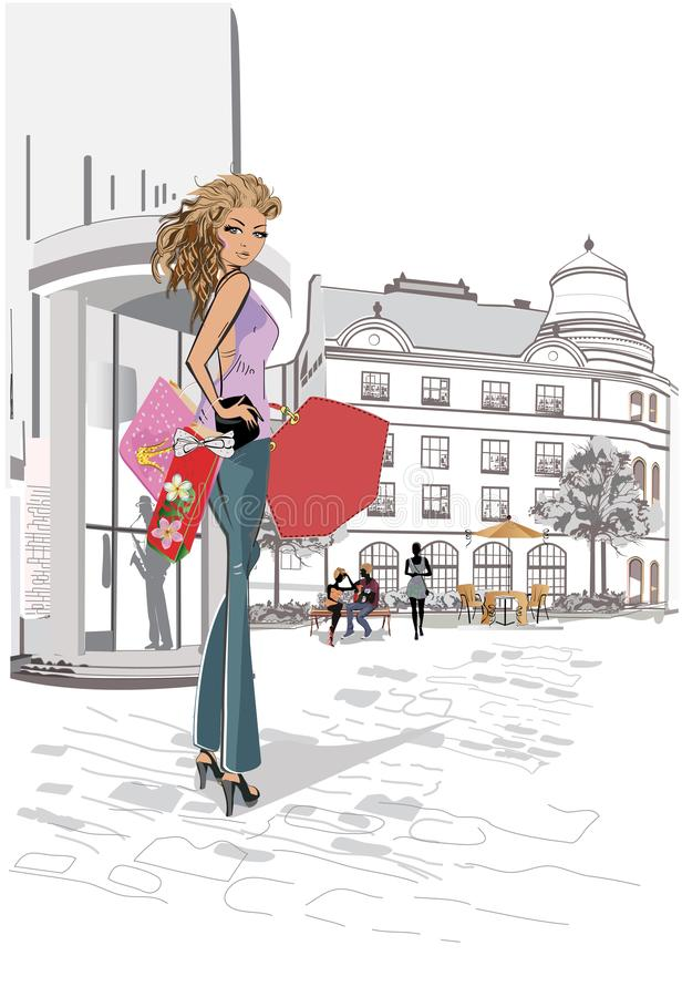 Série des cafés de rue avec les personnes de mode, hommes et femmes, dans la vieille ville illustration stock