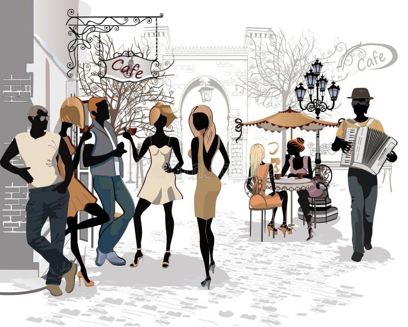 Série des rues avec des personnes dans la vieille ville illustration libre de droits