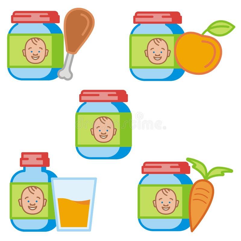 Série do ícone do bebê e dos miúdos ilustração stock