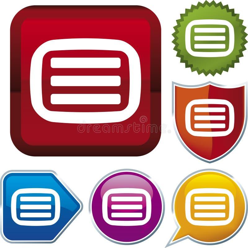 Série do ícone: teletexto ilustração do vetor