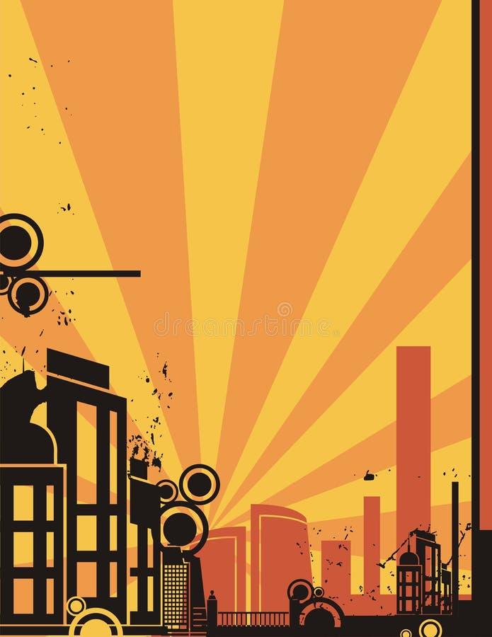 Série do fundo da cidade do nascer do sol ilustração do vetor