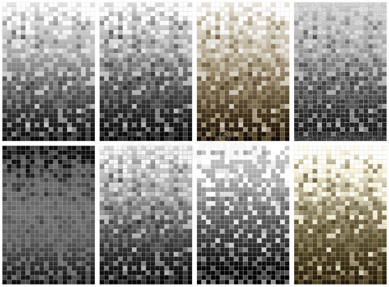 Série do fundo do pixel de 8 mosaicos ilustração do vetor