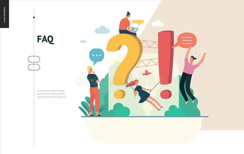 Série do negócio - molde da Web do FAQ ilustração royalty free