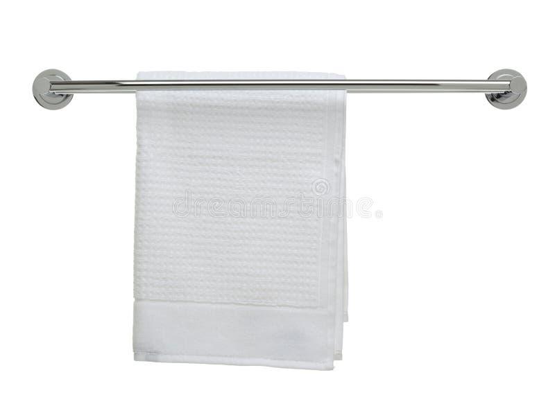 Série do objeto do banheiro - toalha fresca em um trilho fotografia de stock royalty free