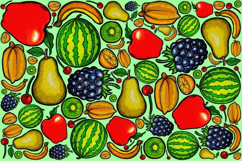 Série 2 do projeto do teste padrão dos frutos frescos imagem de stock