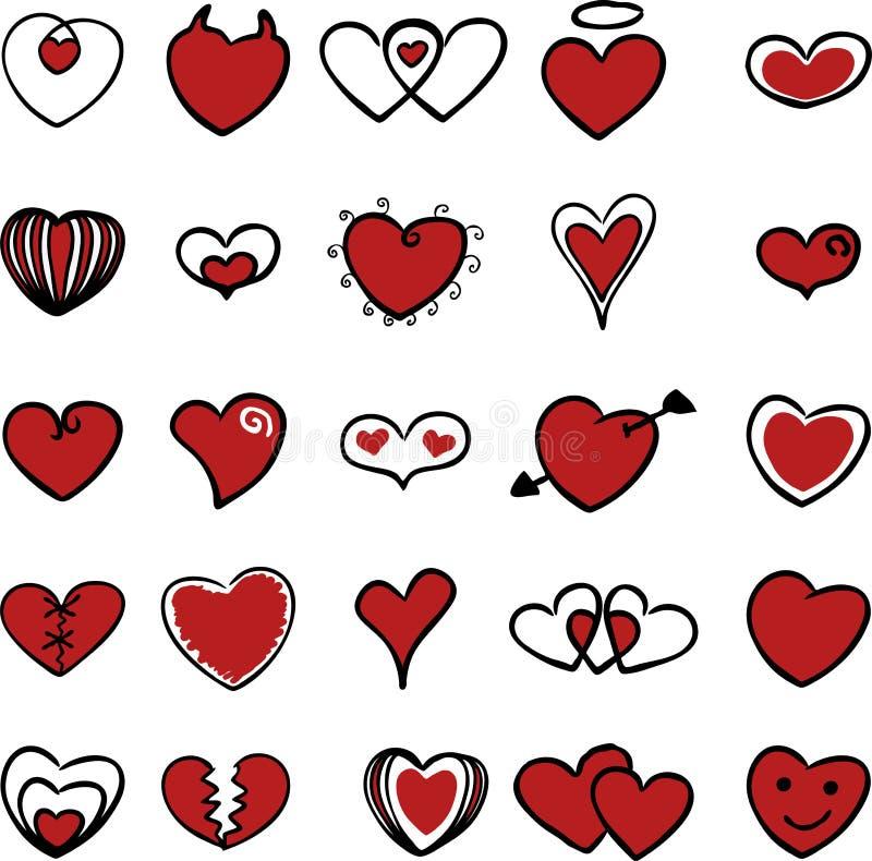 Série 2 do símbolo do coração ilustração do vetor