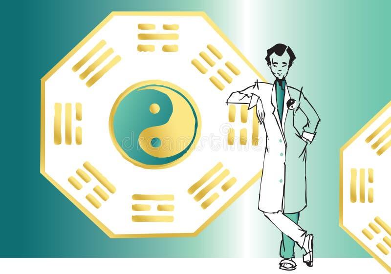 Série do trabalho - terapeuta asiático ilustração royalty free