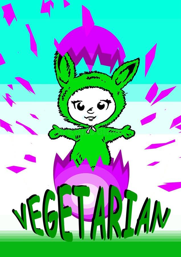 Série do vegetariano do Vegan/easter ilustração royalty free