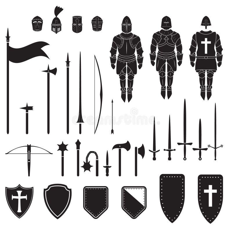 Série dos guerreiros - cavaleiros medievais equipamento, armas e armadura Vetor ilustração royalty free