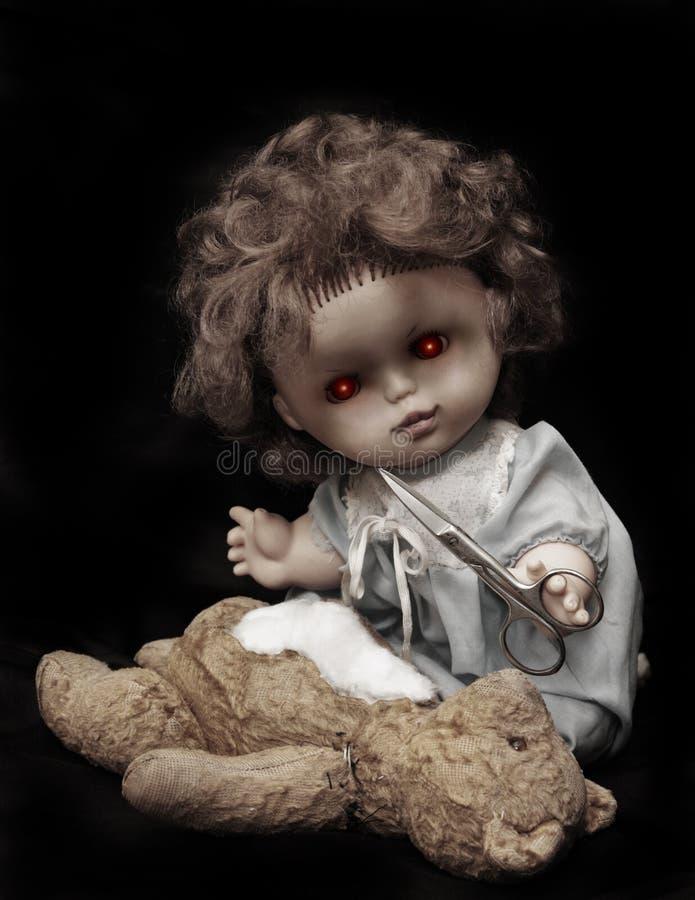 Série escura - boneca do assassino do vintage fotografia de stock royalty free