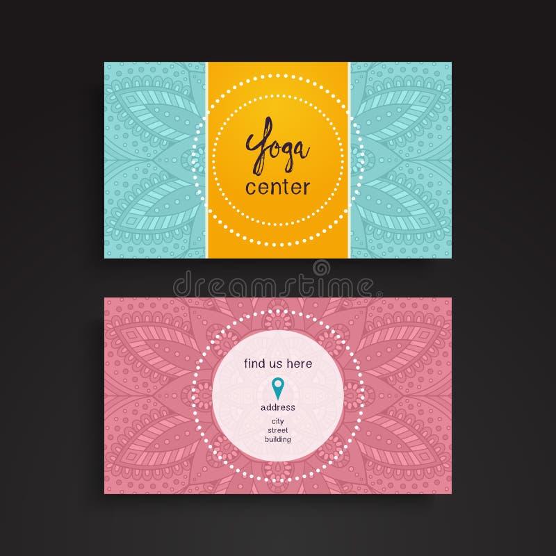 Série financeira e do negócio Elementos decorativos do vintage Cartões ou convite floral decorativo com mandala ilustração stock