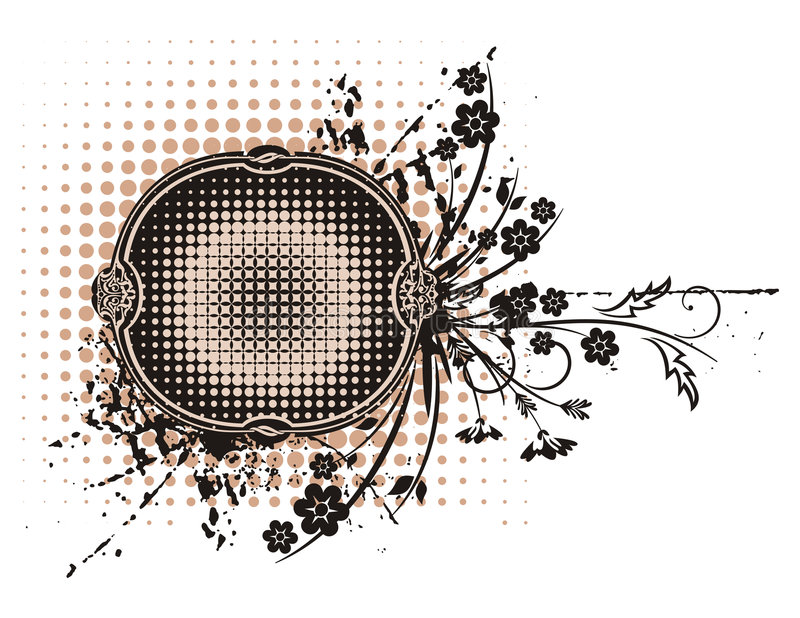 Série floral do frame de Grunge ilustração royalty free