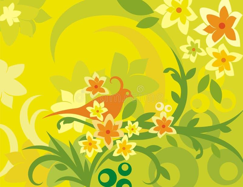 Série floral do fundo do pássaro ilustração royalty free