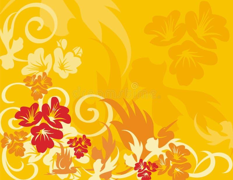 Série florale de fond d'oiseau illustration de vecteur