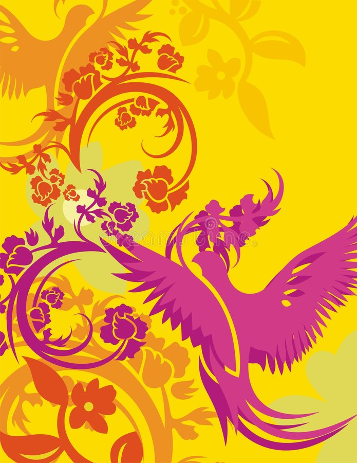 Série florale de fond d'oiseau illustration libre de droits
