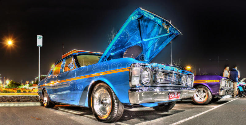 série Ford Falcons des années 1970 X la nuit photos stock