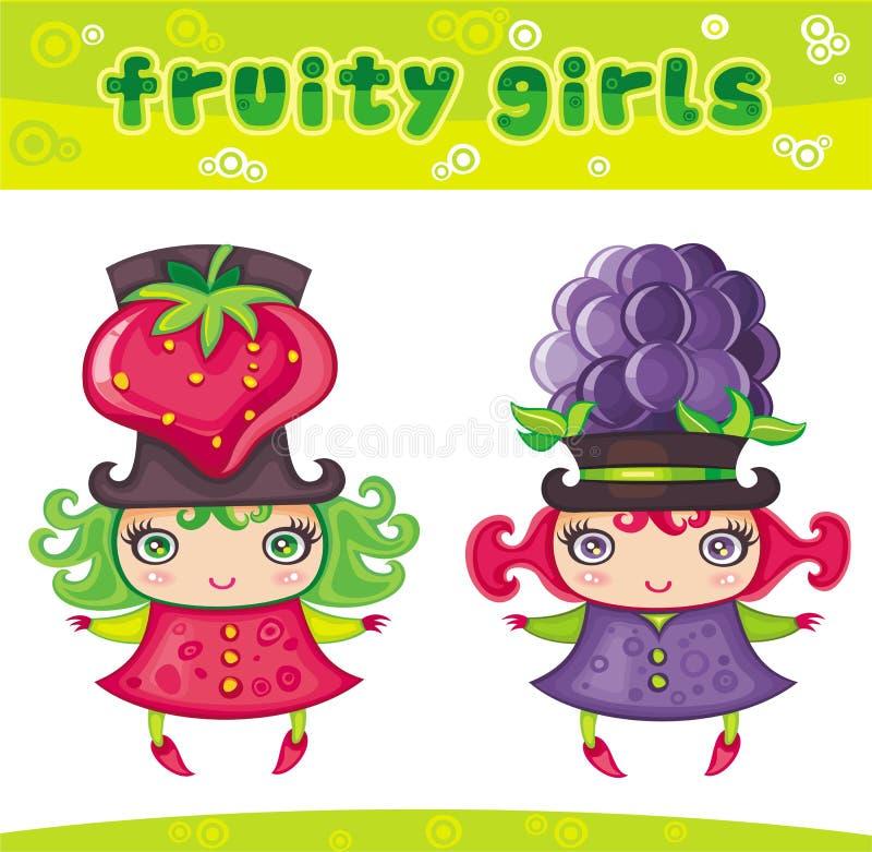 Série Fruity 6 das meninas ilustração royalty free