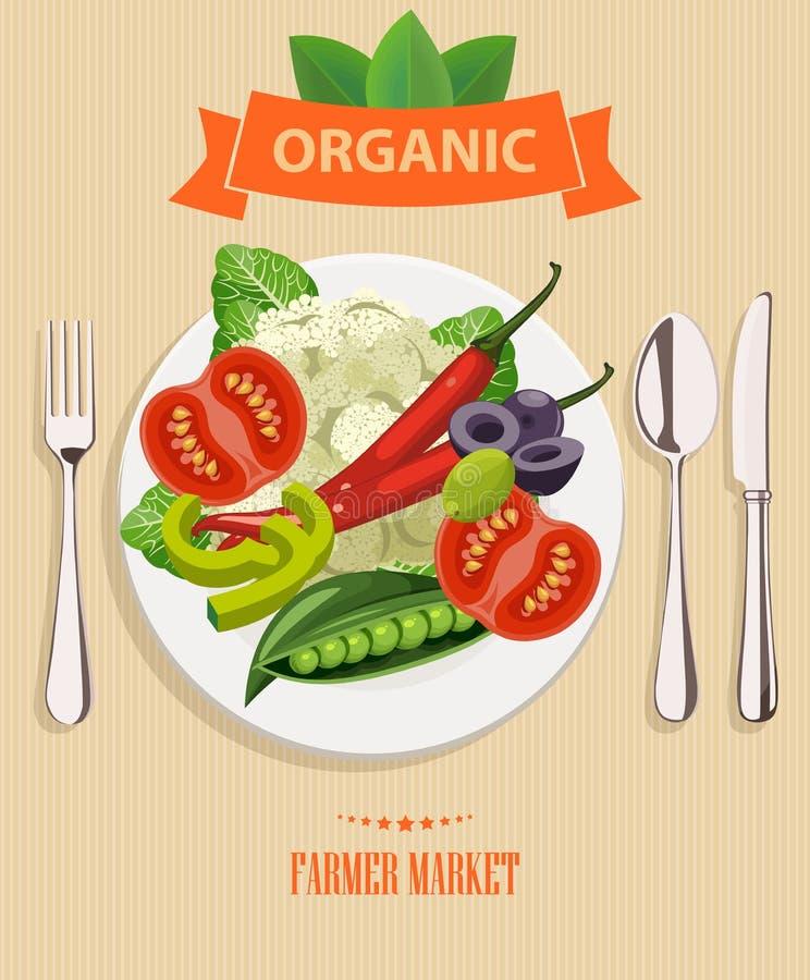 Série - fruto, vegetais e especiarias do vetor Menu do alimento biológico Grupo de vegetais, de frutos e de especiarias Projeto d ilustração stock