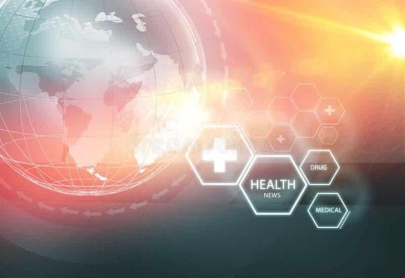 Série global 101 do conceito do fundo da notícia da saúde ilustração royalty free