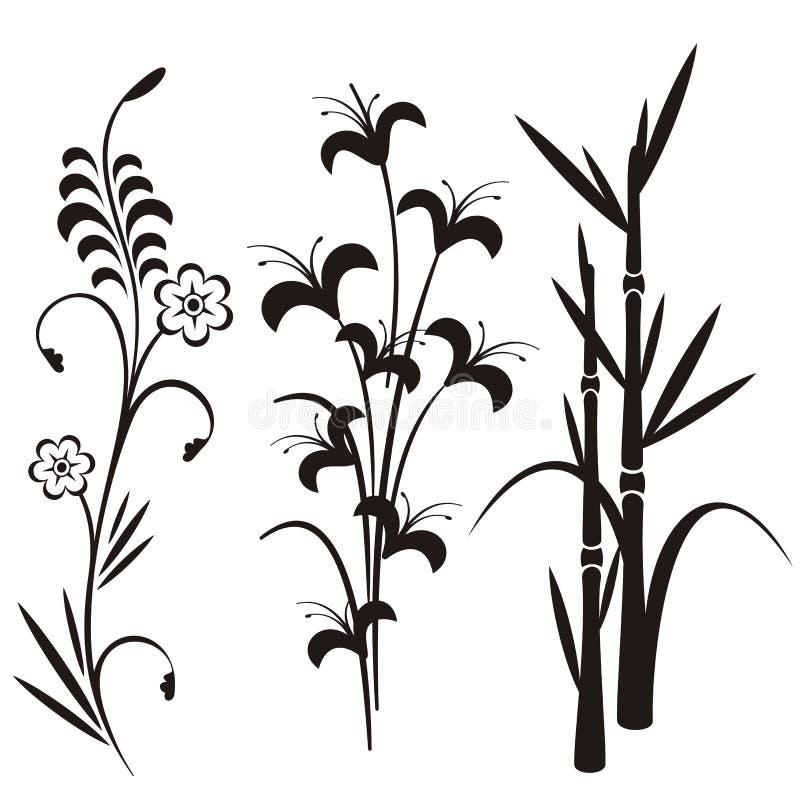 Série japonesa do projeto floral ilustração stock