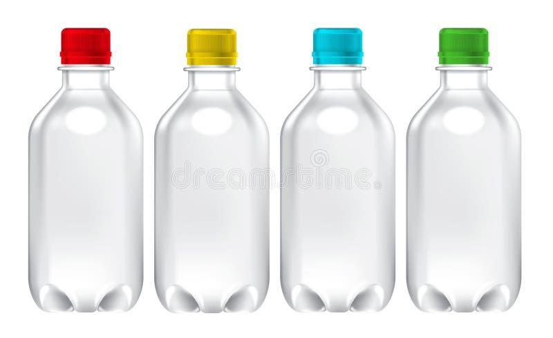 Série minérale d'image de maquette de bouteille de boisson de jus réaliste coloré Petite maquette d'emballage de bouteille d'eau illustration de vecteur