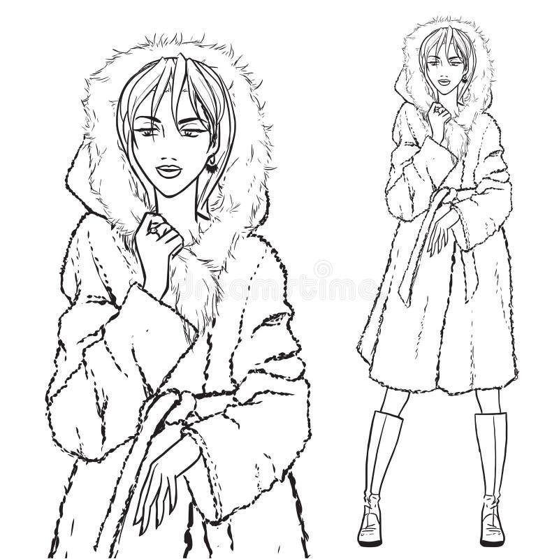 Série - mulher no casaco de pele ilustração royalty free