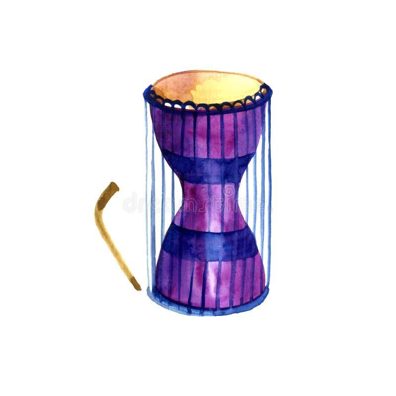 Série musicale d'illustration Tambour parlant africain traditionnel, d'isolement sur le fond blanc watercolor illustration libre de droits