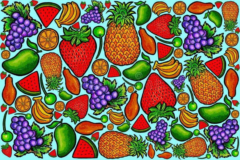 Série orgânica fresca 1 do teste padrão do fruto foto de stock royalty free