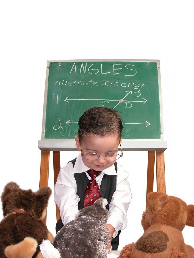 Série pequena do homem: Animal de estimação do professor imagem de stock royalty free
