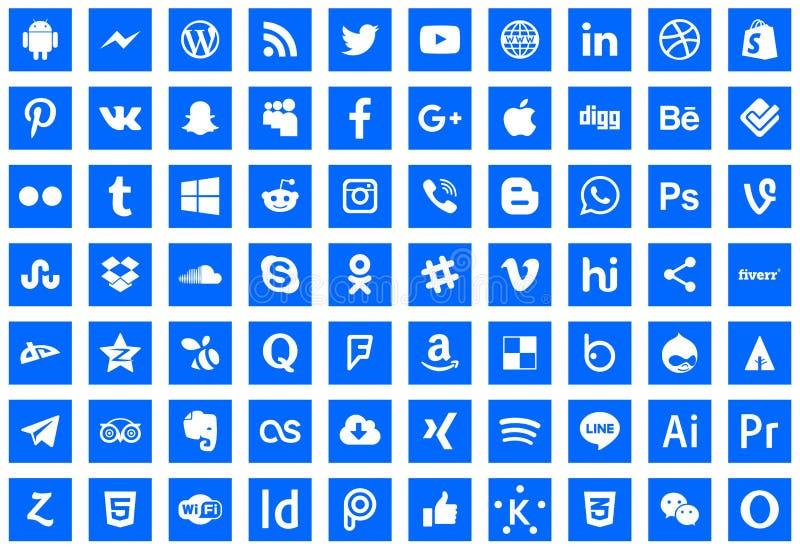 série sociale de réseau d'icônes illustration stock