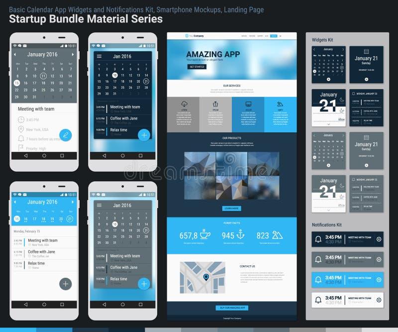 Série Startup do material do pacote App móvel UI e página da aterrissagem ilustração stock