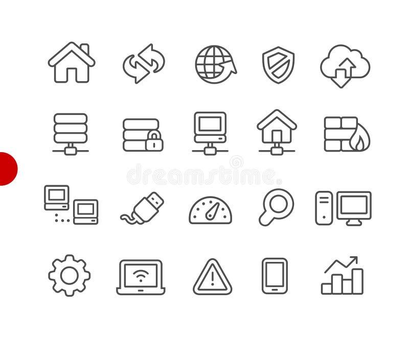 Série vermelha do ponto de Icons //do programador web ilustração stock